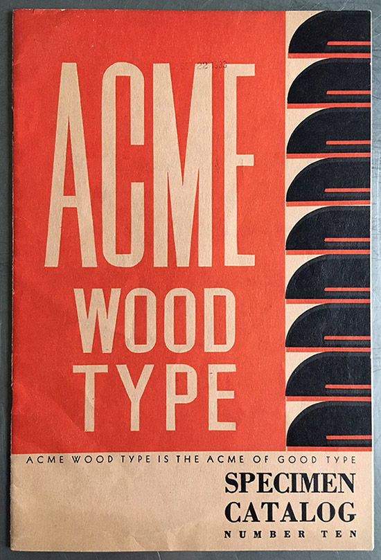 Acme Wood Type, specimen catalogue
